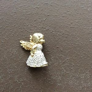 Gold Silver Angel Girl Brooch Pin